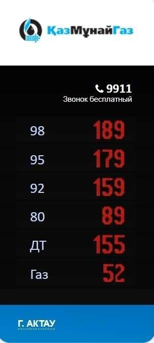 Цена на топливо в Актау