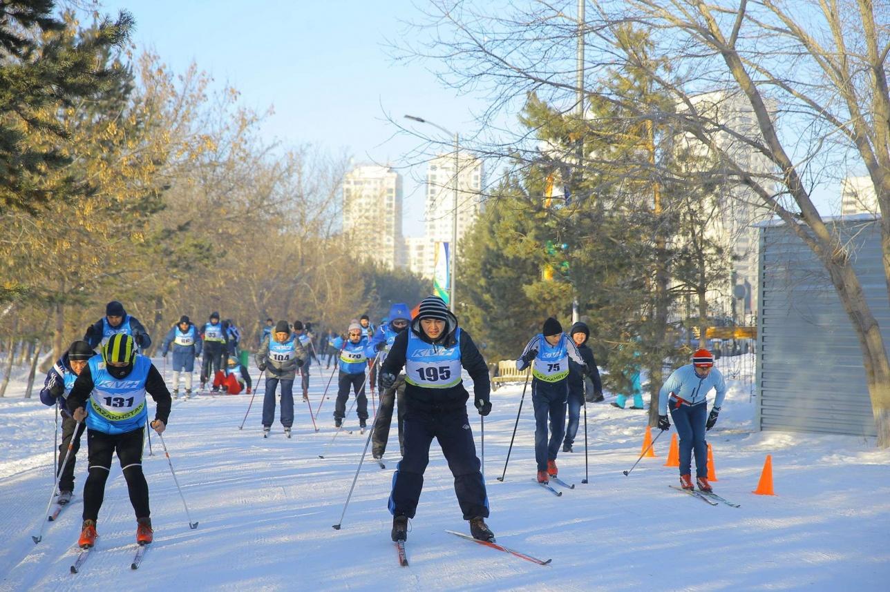 Лыжный марафон прошёл состоялся в Центральном парке Астаны.