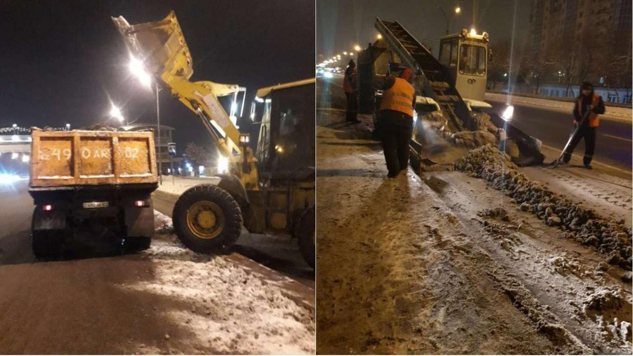 Уборка снега в ночь на 12 января