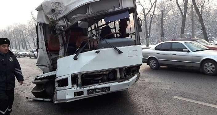 Автобус налетел на бордюр встречной полосы и врезался в деревья