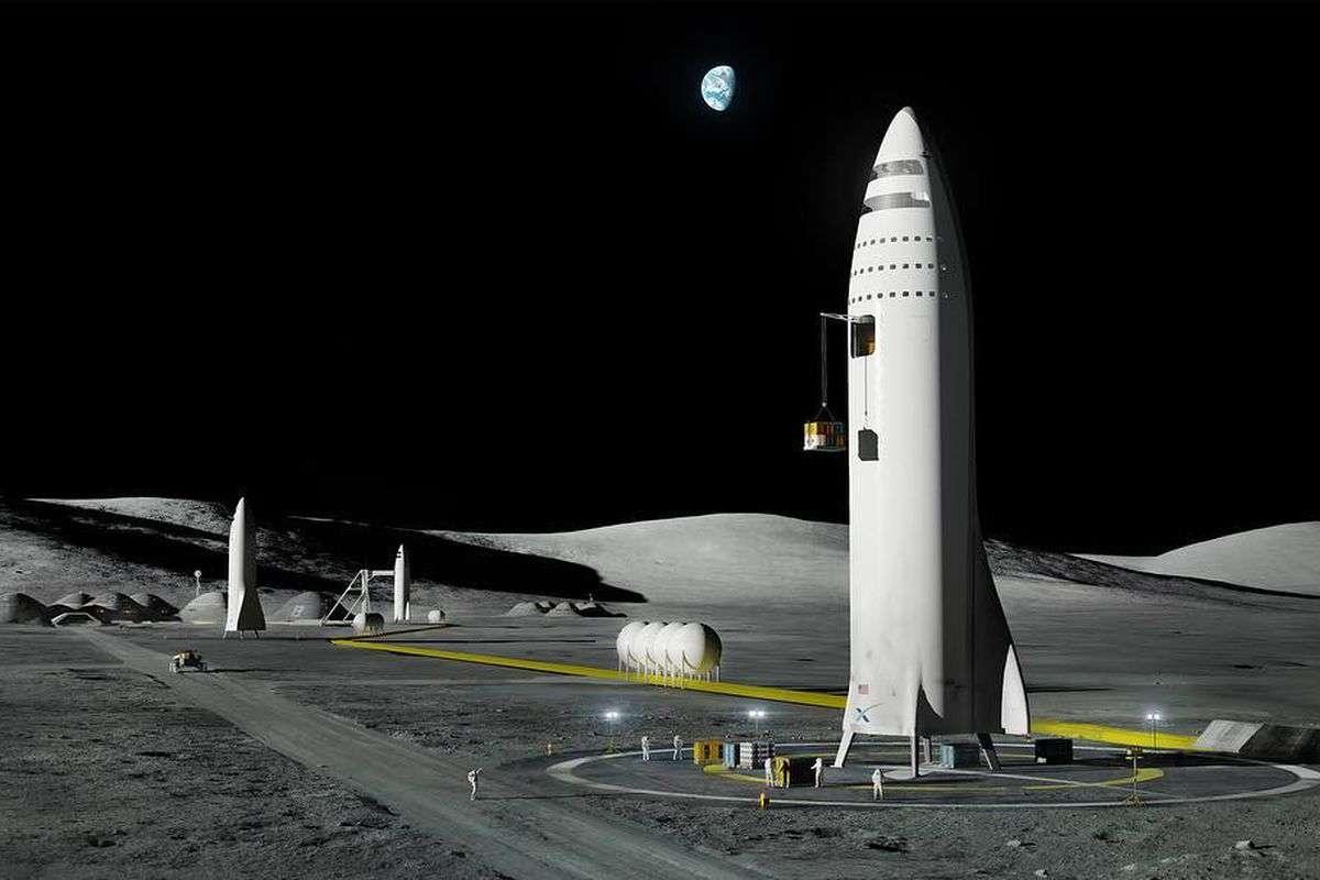 Именно так в представлении Илона Маска будет выглядеть первая база землян на Луне
