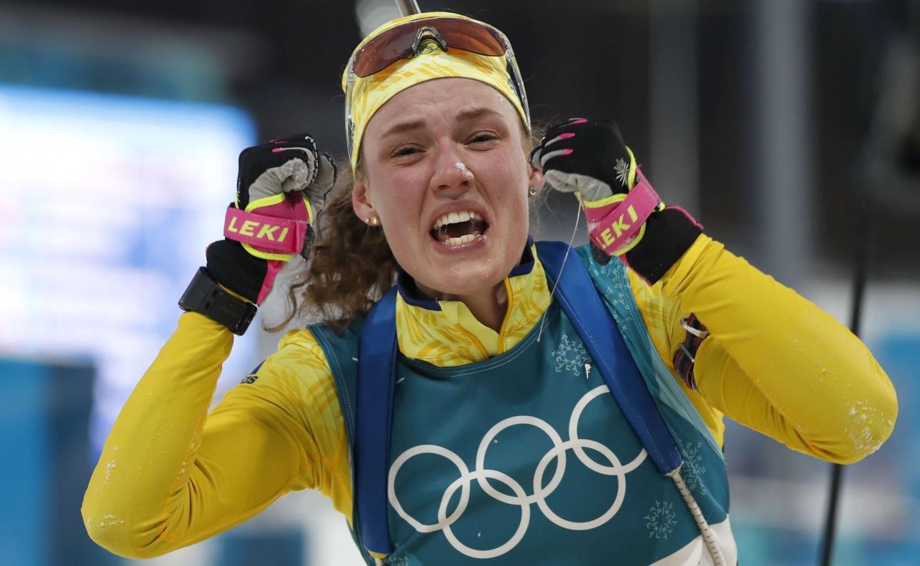 Эмоции Ханны Оберг, которая до Пхёнчхана никогда не была олимпийской чемпионкой