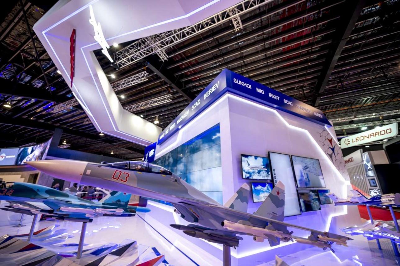 Стенд российской Объединенной авиастроительной корпорации на Singapore Airshow-2018