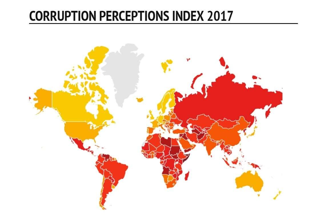 Красным цветом обозначены страны, где уровень коррупции очень высок, жёлтым - низкий