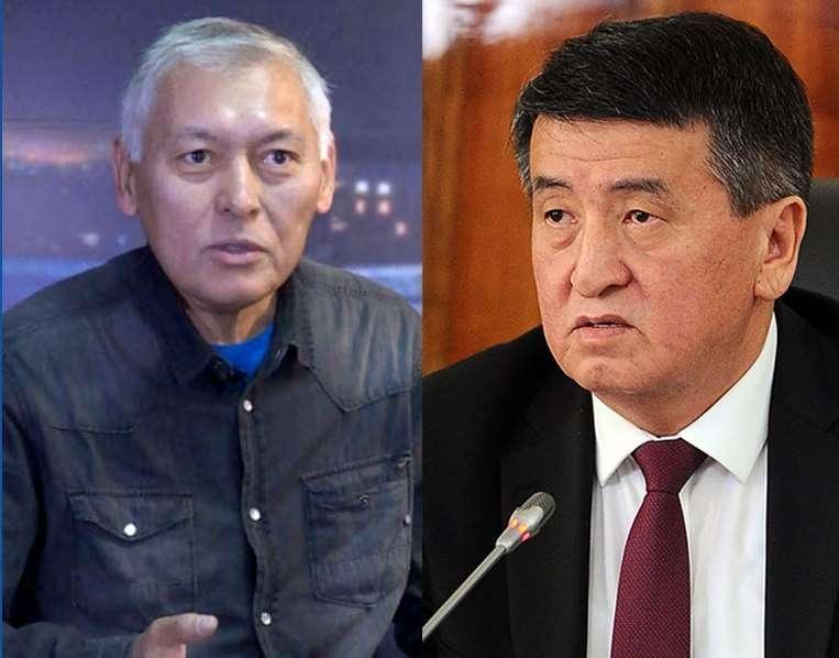Журналист Кабай Карабеков и президент КР Сооронбай Жээнбеков