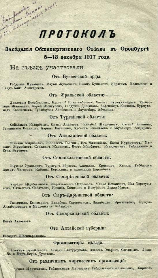 Протокол заседания Общекиргиского сьезда в 1917 году