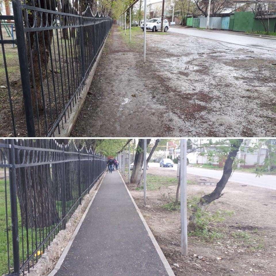В Алматы строят тротуары