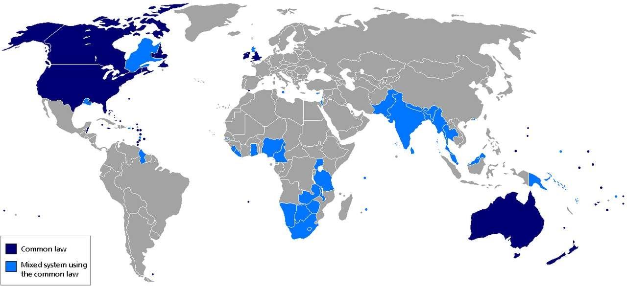 География распространения англосаксонской системы права