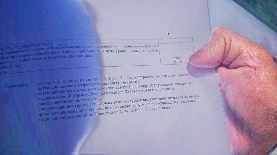 Документ, регламентирующий оплату за съёмку на территории парка