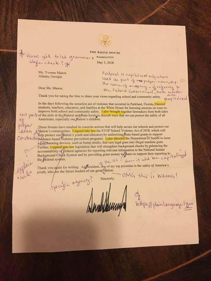 Письмо Трампа с исправлениями
