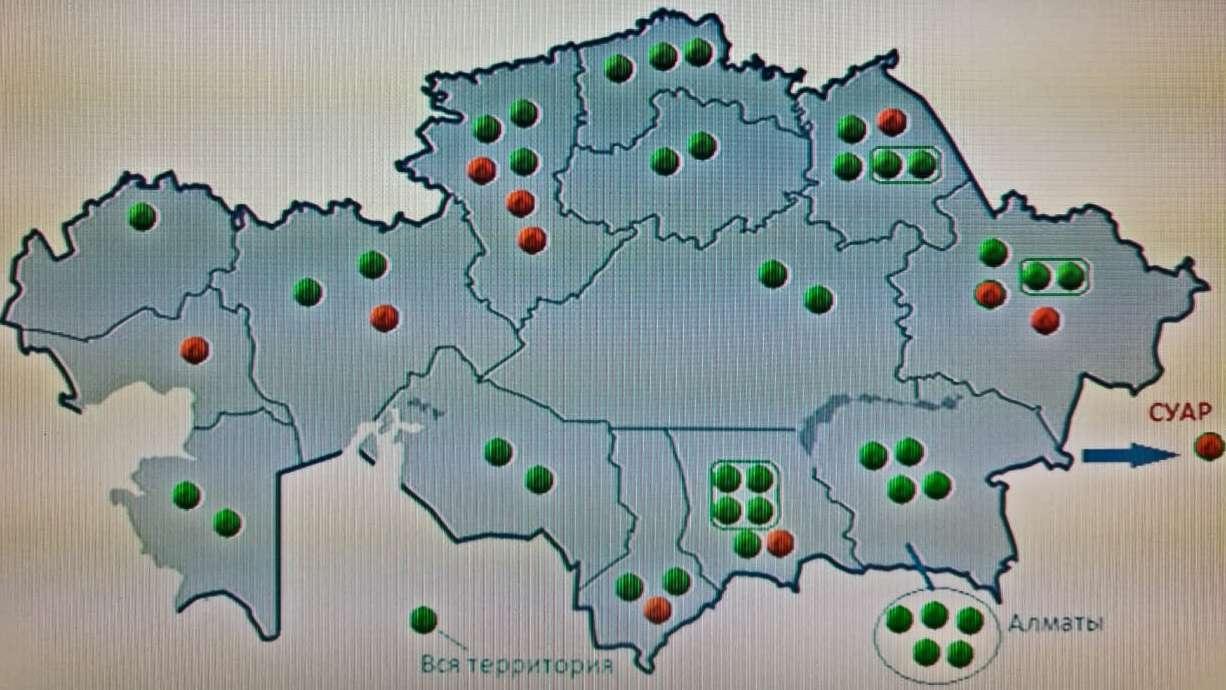 Қытай қаржыландыруды мақсат еткен Қазақстандағы 51 жобаның картада орналасуы