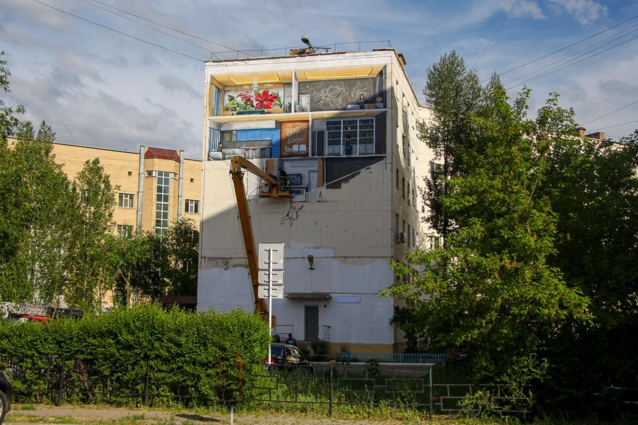 """Стрит- арт""""Дети большого города"""", Бараева 6/1"""