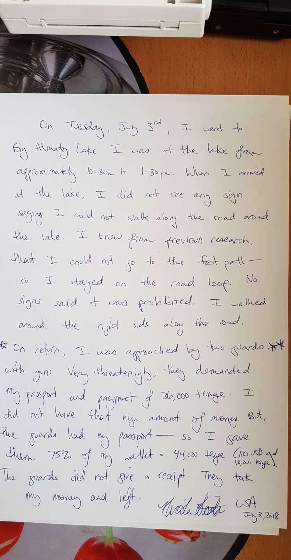 Фото письма туристки из США (Nicola Licata)