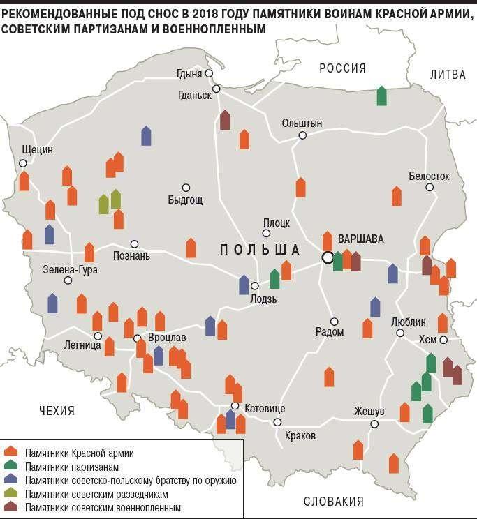 Рекомендованные под снос в 2018 году памятники Красной Армии в Польше