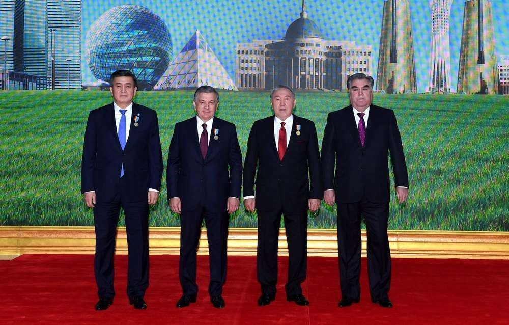 Нурсултан Назарбаев с президентами Кыргызстана, Таджикистана и Узбекистана