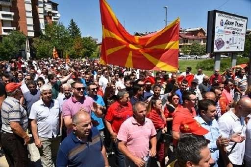 Мирный марш протеста в городе Кавадарцы в центральной части Македонии