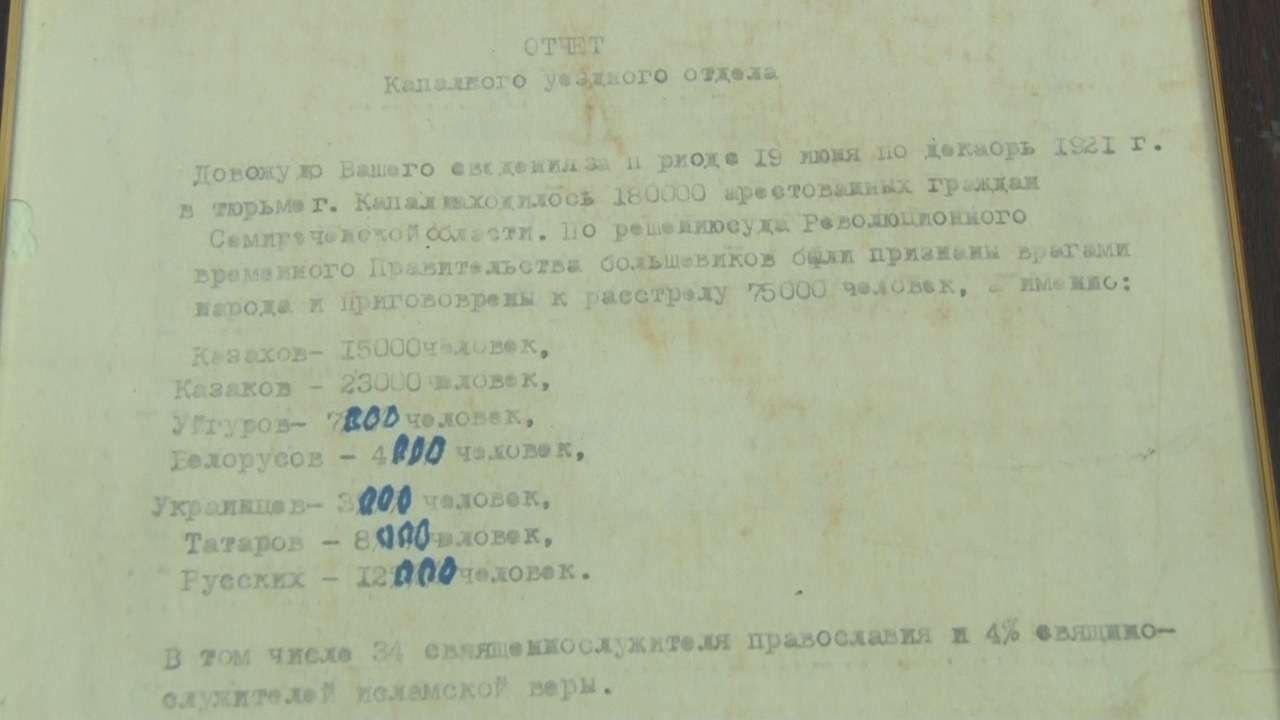 Копия документа о гибели 75 000