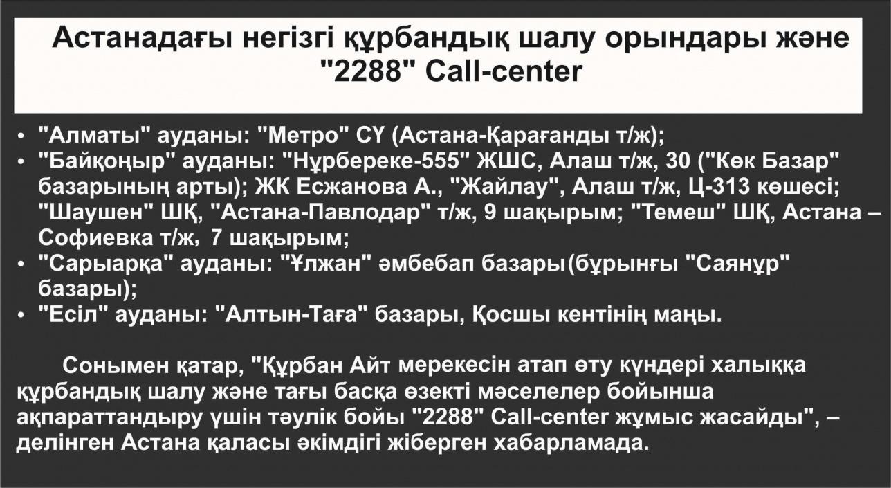 Астананың құрбандық шалу орындары туралы хабарламасы