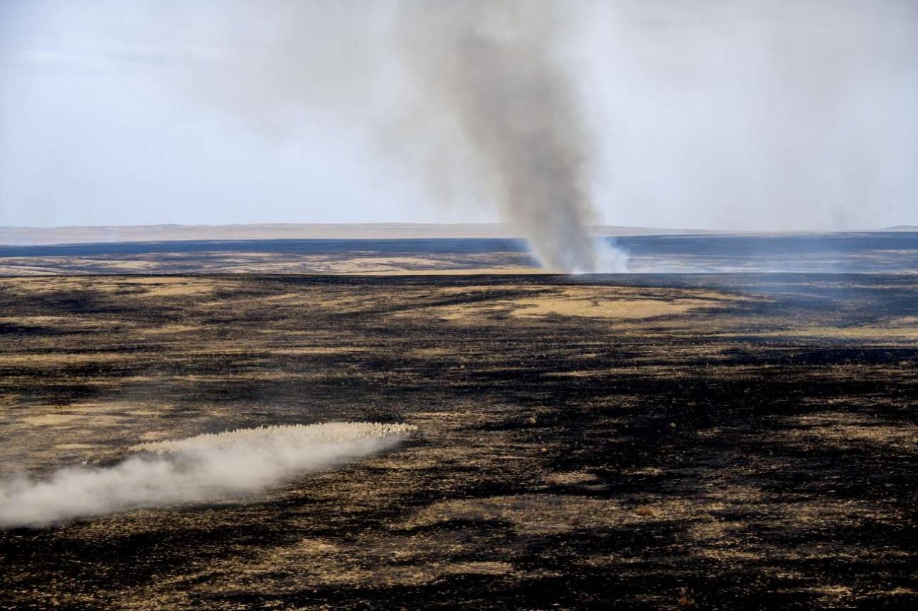 После степного пожара остаются сюрреалистические пейзажи