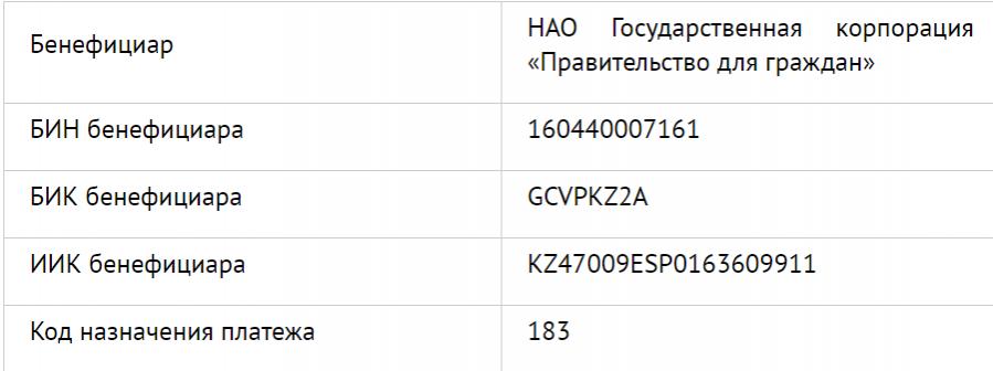 """Реквизиты для оплаты ЕСП в кассах банка и отделениях """"Казпочты"""""""