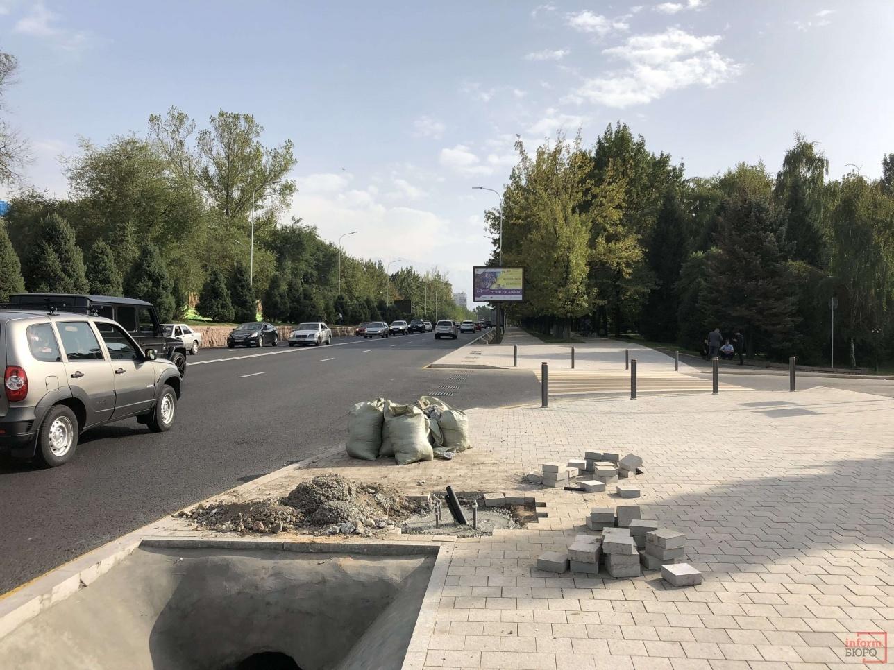 Проспект Назарбаева выше улицы Сатпаева, вдоль резиденции Президента