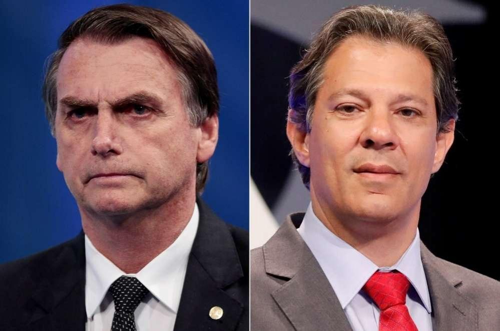 Кандидаты Жаир Болсонару (слева) и Фернанду Аддад (справа)