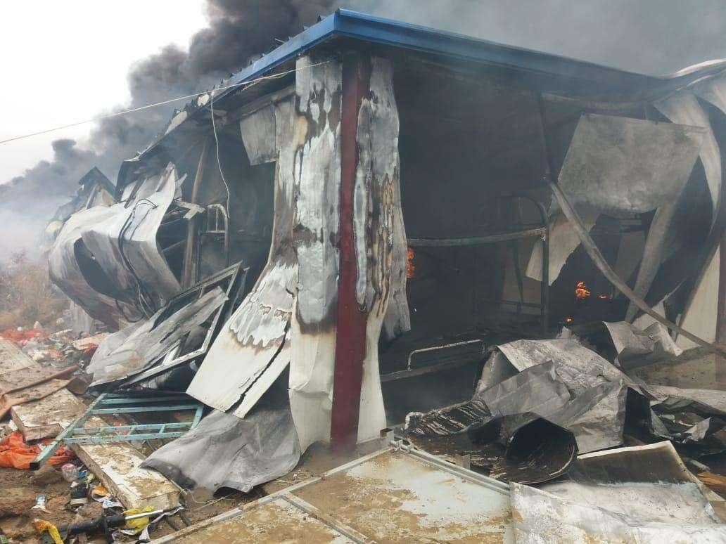 Пожар на заводе в Кызылординской области