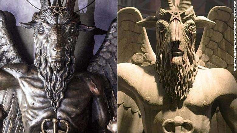 Слева - Статуя Сатанинского храма, справа - фигура в сериале