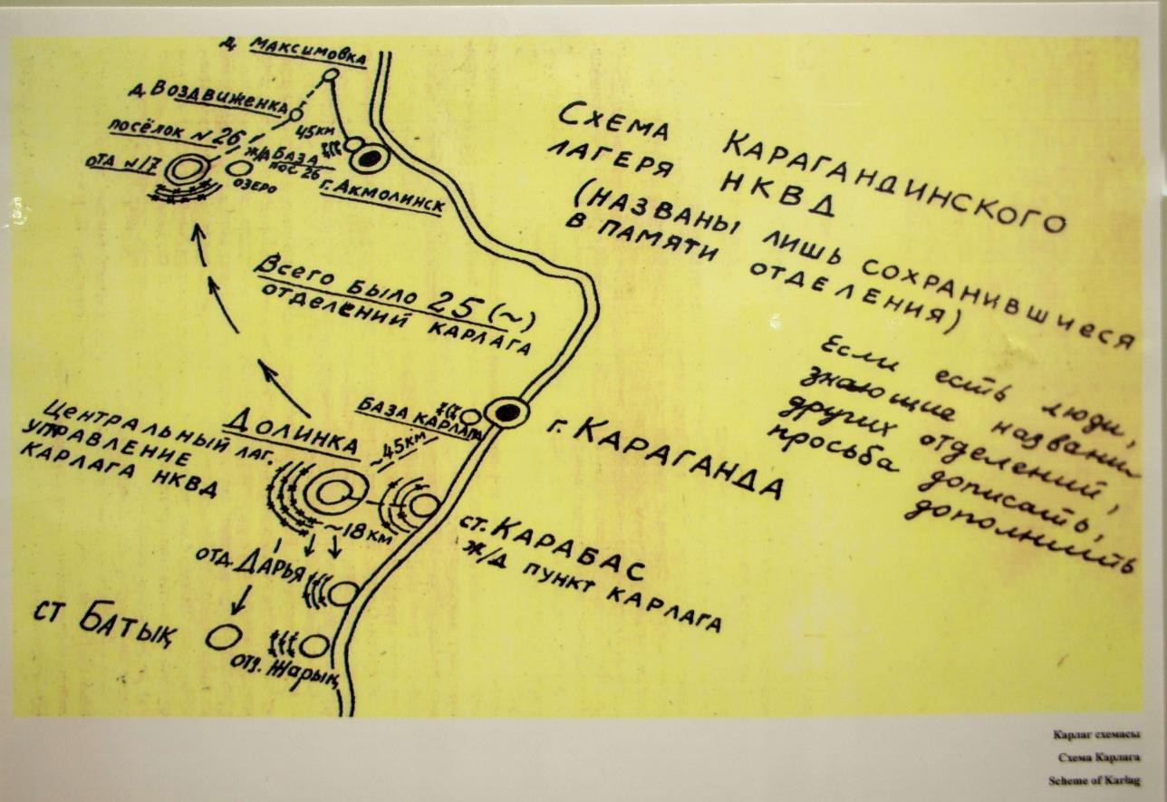Схема Карагандинского лагеря НКВД