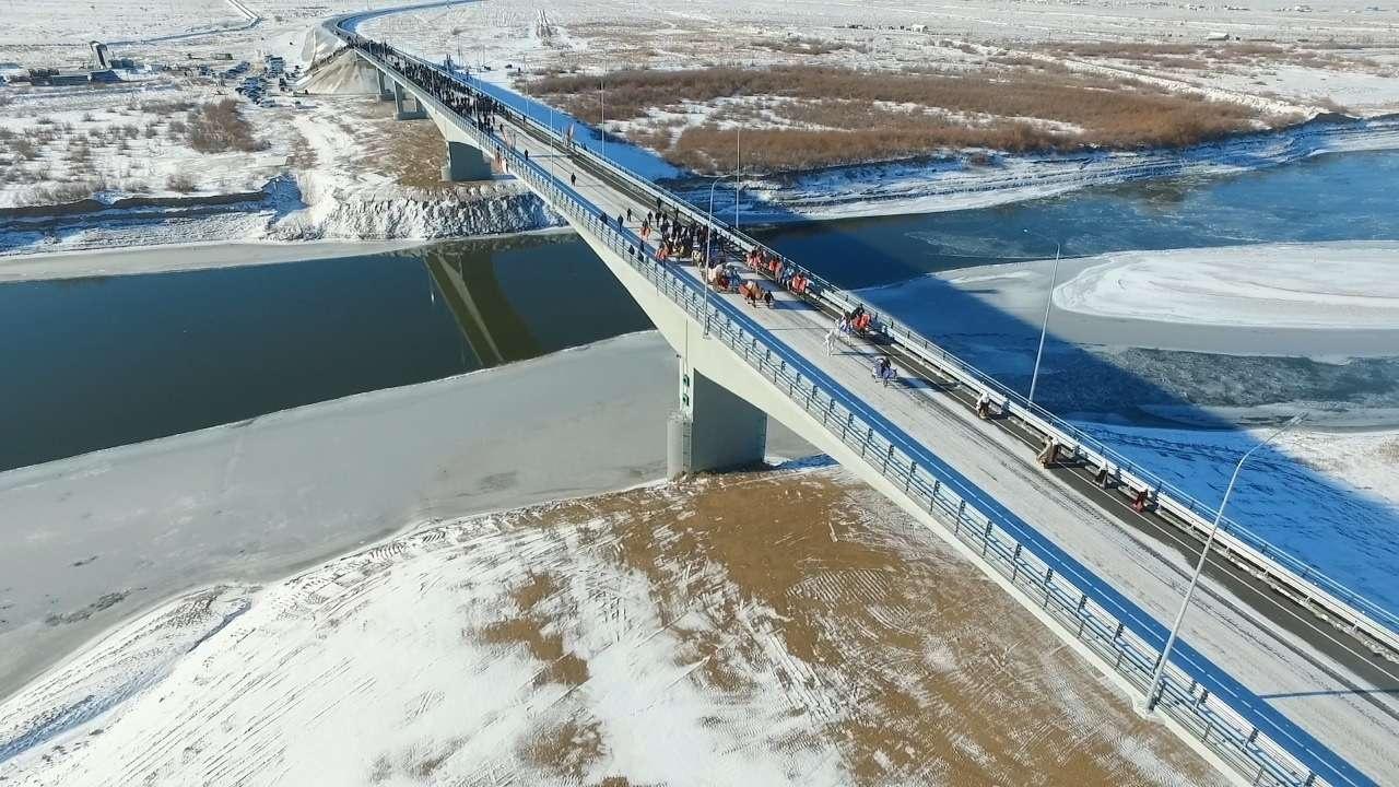 Открытие автомобильного моста через реку Урал