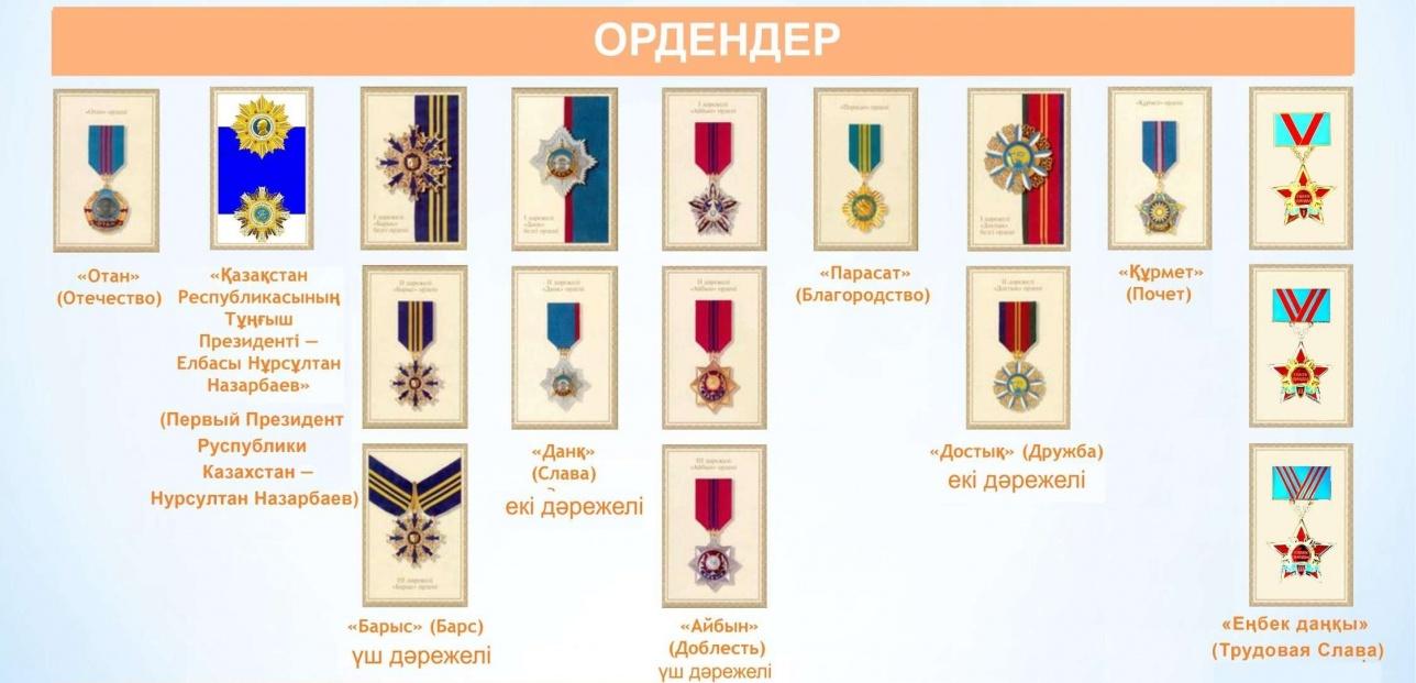 Мемлекеттік ең жоғарғы ордендер