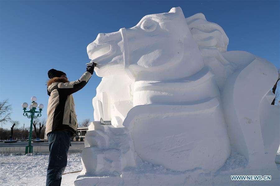 На территории ледового городка проходит 25-ый фестиваль снежных скульптур