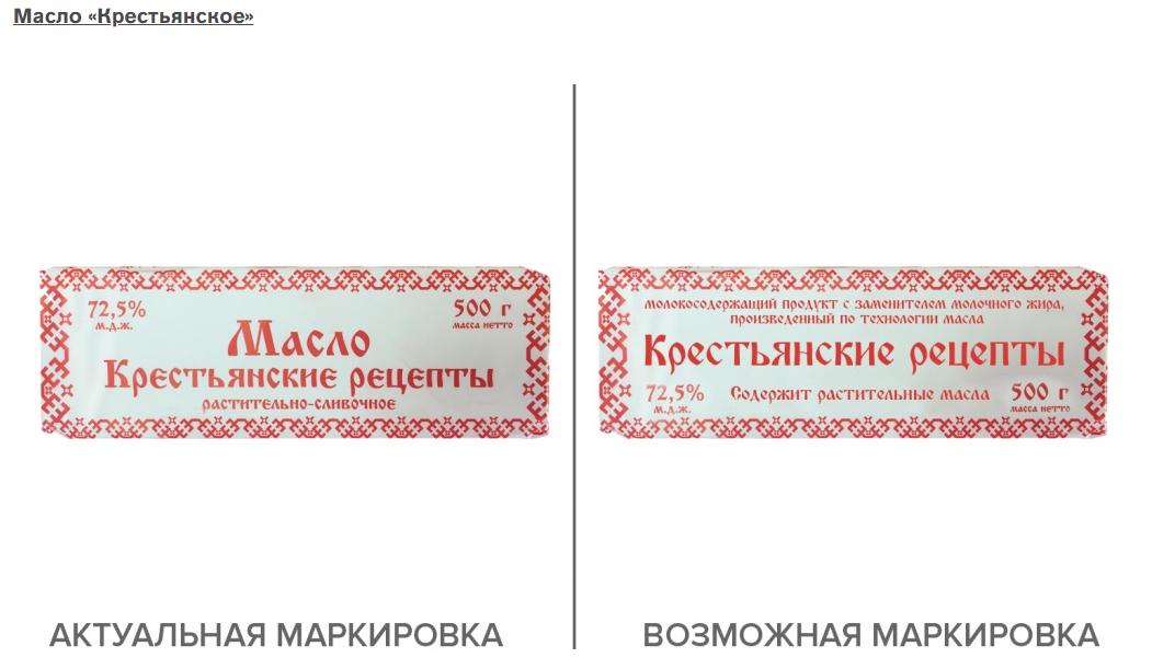 Пример того, как может выглядеть маркировка, соответствующая новым требованиям (справа) по сравнению с нынешней (слева)