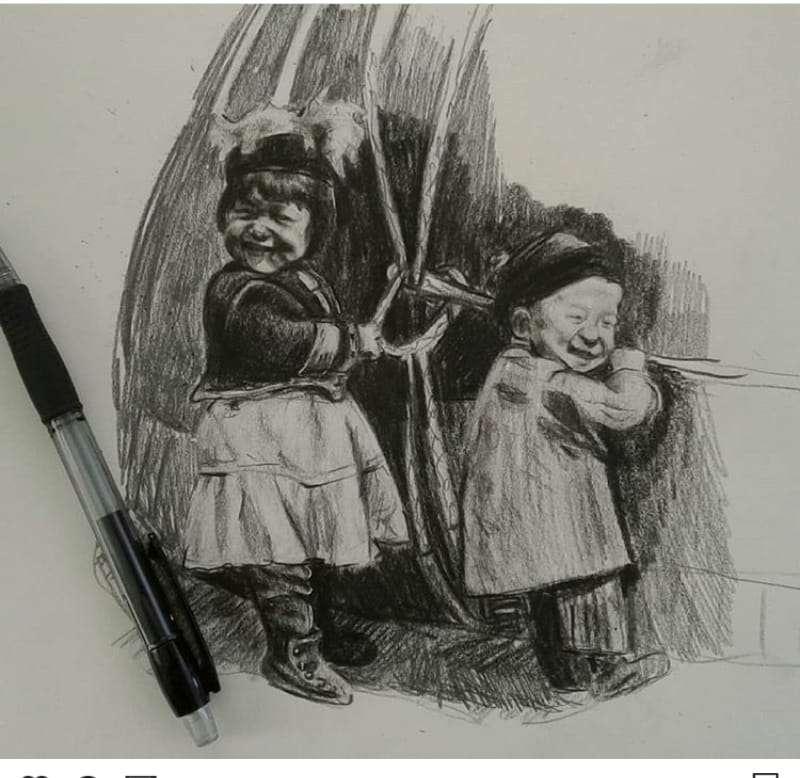 Кереге құрып тұрған балалар