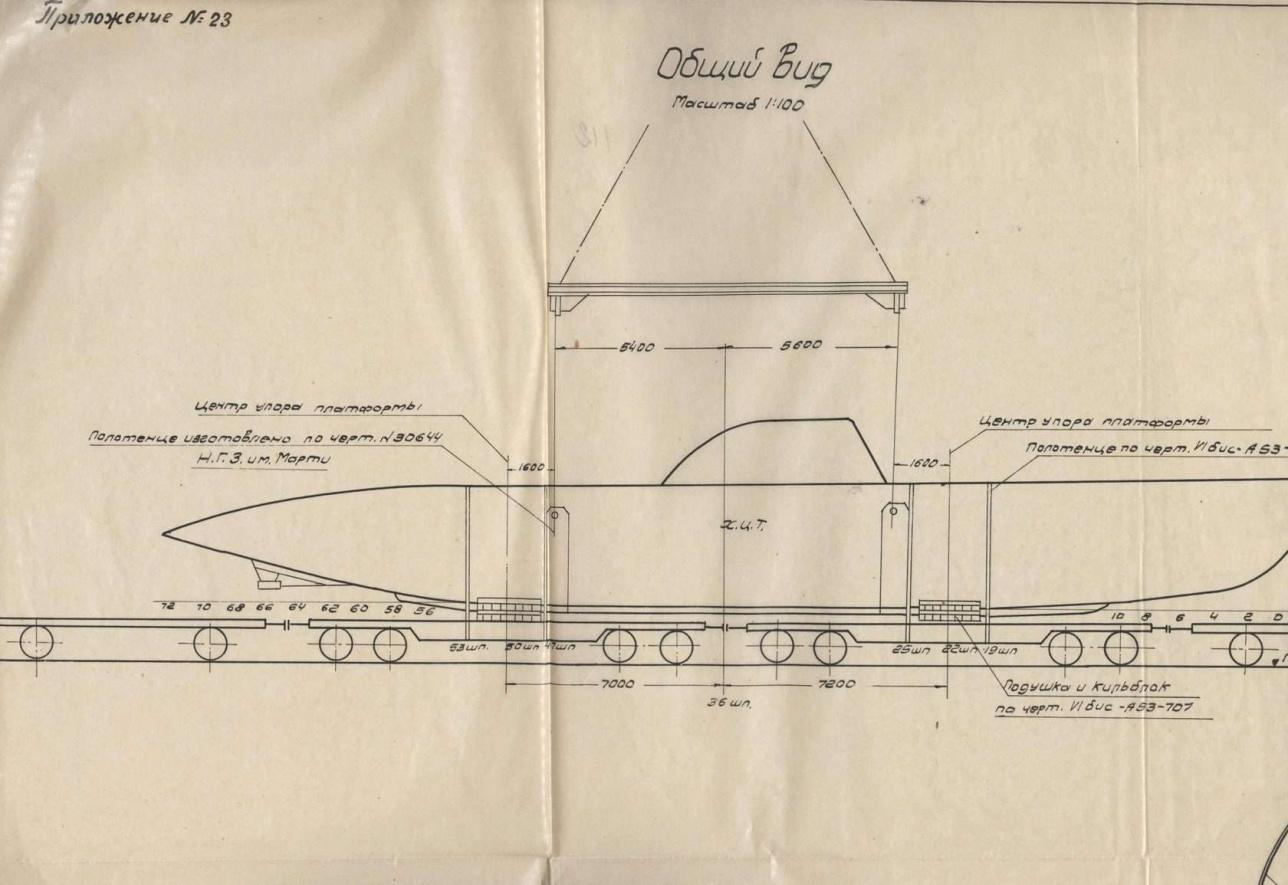 Эскиз погрузки подводных лодок на немоторные платформы