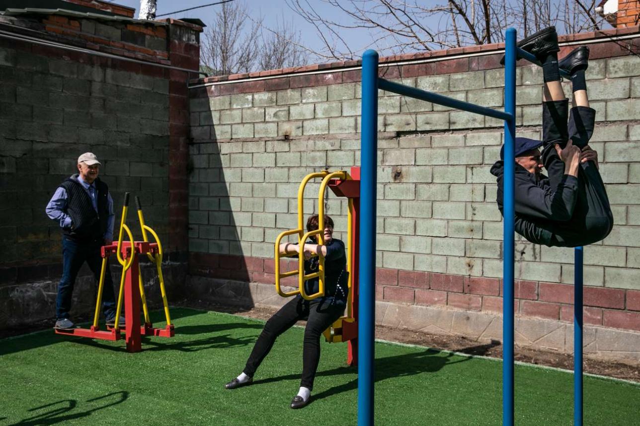 В свободное от работы время жильцы занимаются спортом