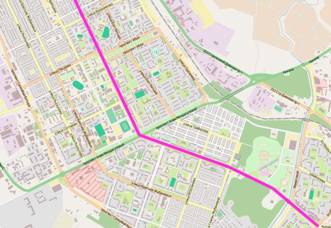 Улица Молдагуловой делит проспект Абулхаира на верхнюю и нижнюю половину. Нижняя будет носить имя Первого Президента