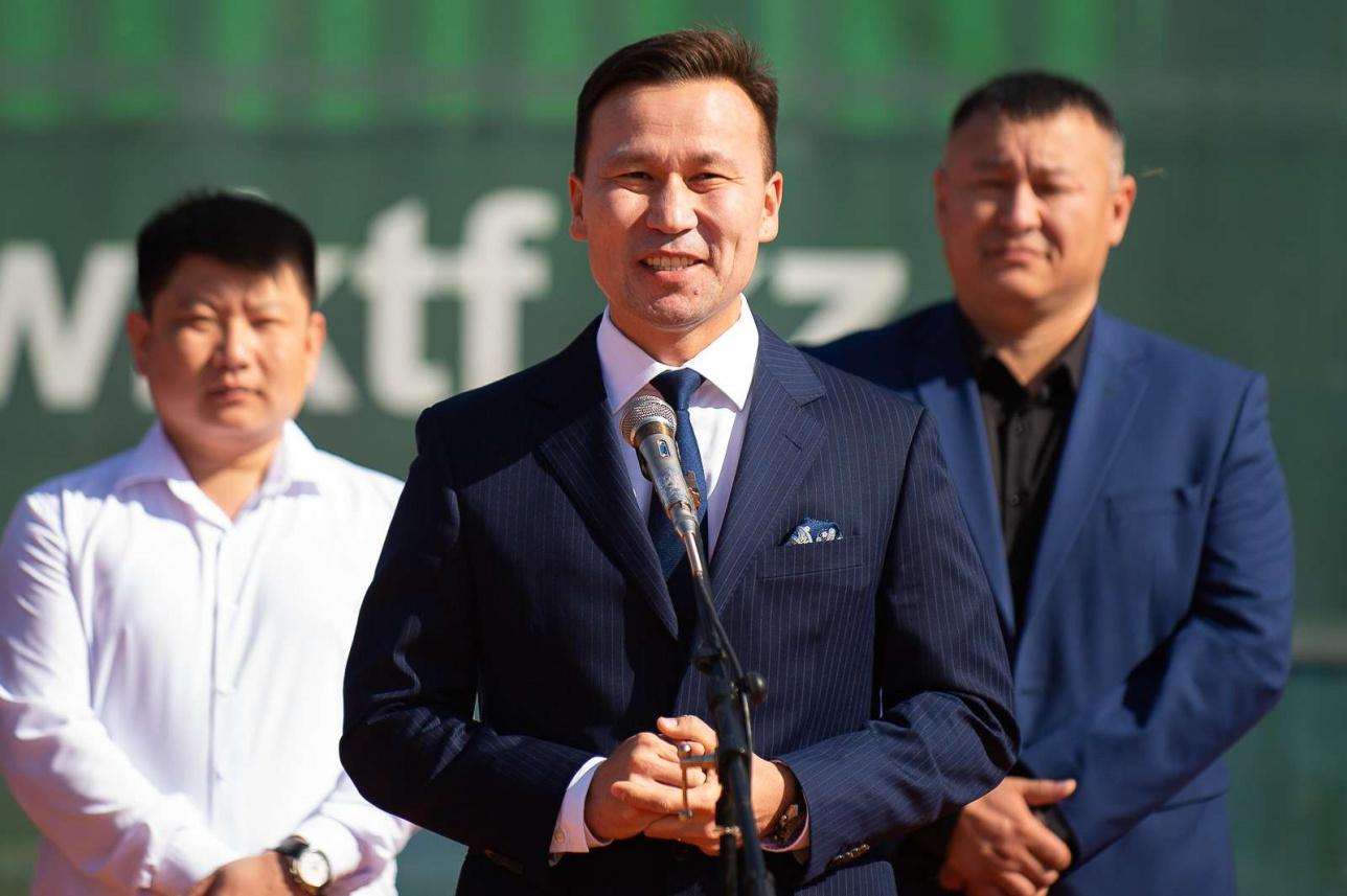 Приветственная речь вице-президента Федерации тенниса Казахстана Диаса Доскараева на церемонии открытия турнира серии ATP Challenger