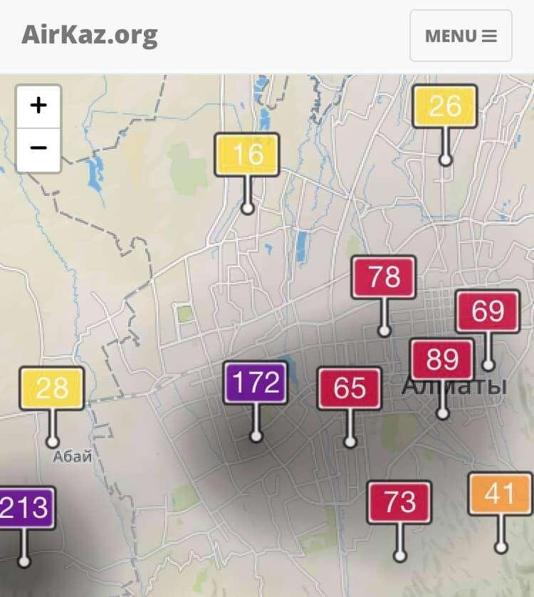 Уровень содержания частиц РМ 2.5 (мкг/м3 воздуха) в западной части города