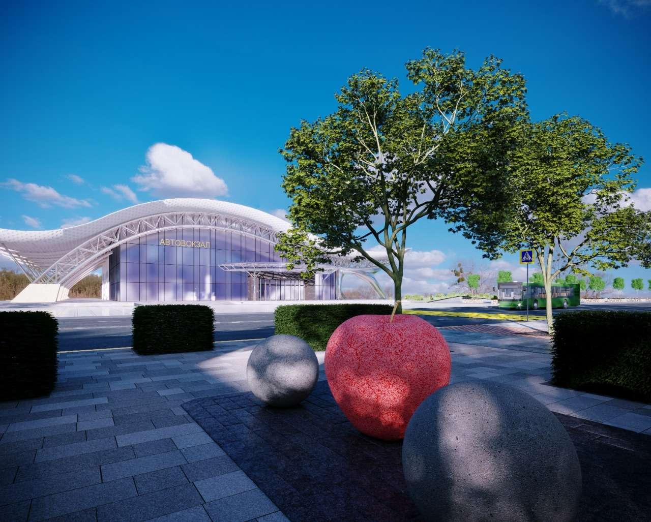 Жителей и гостей Алматы будет встречать с автовокзала символ города - яблоко