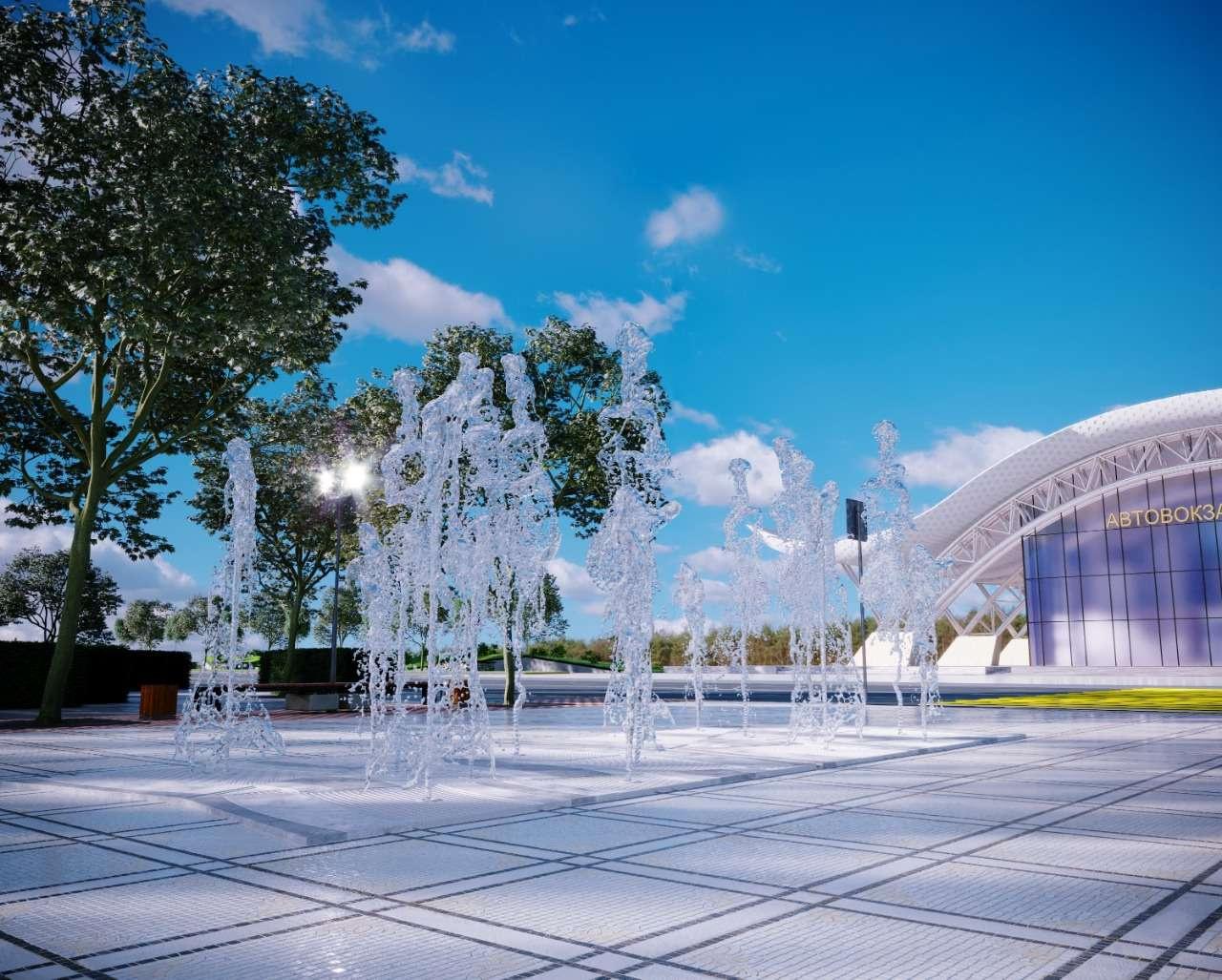 Сухой фонтан на привокзальной площади