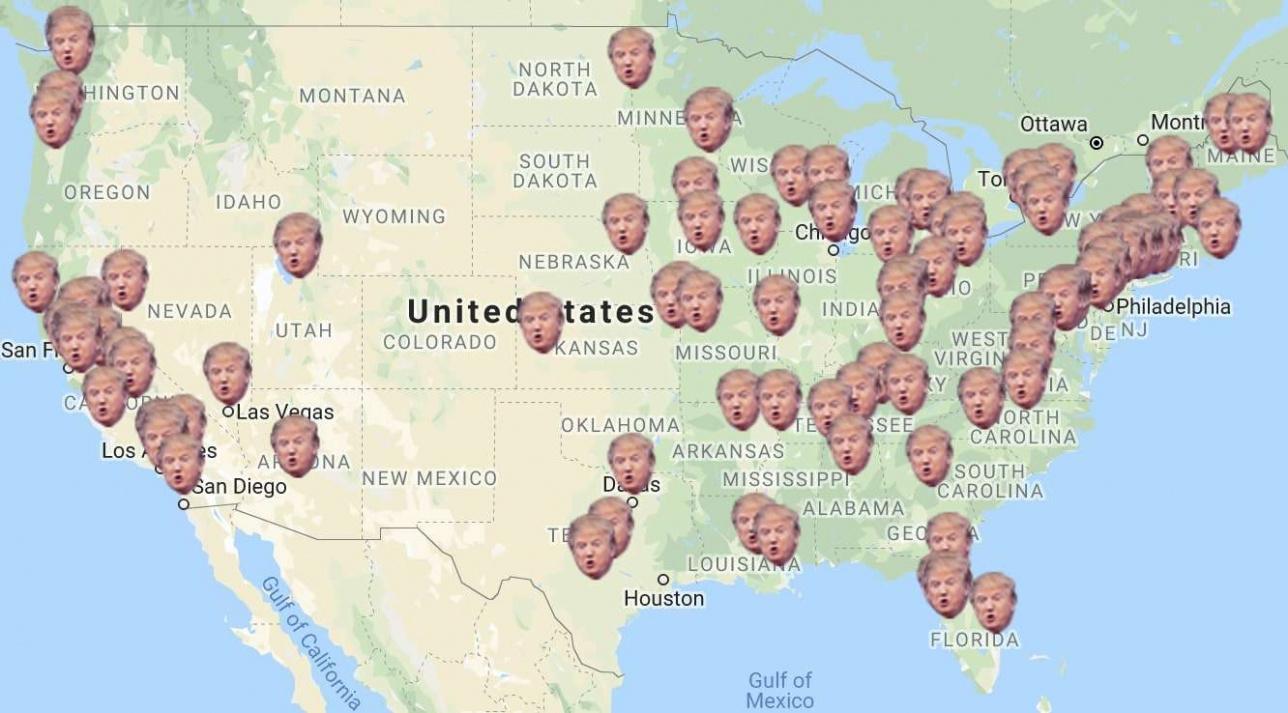 Картада Трампты қолдаушы америкалықтар мен иммигранттар арасындағы түсініспеушіліктер тіркелген аймақтар көрсетілген