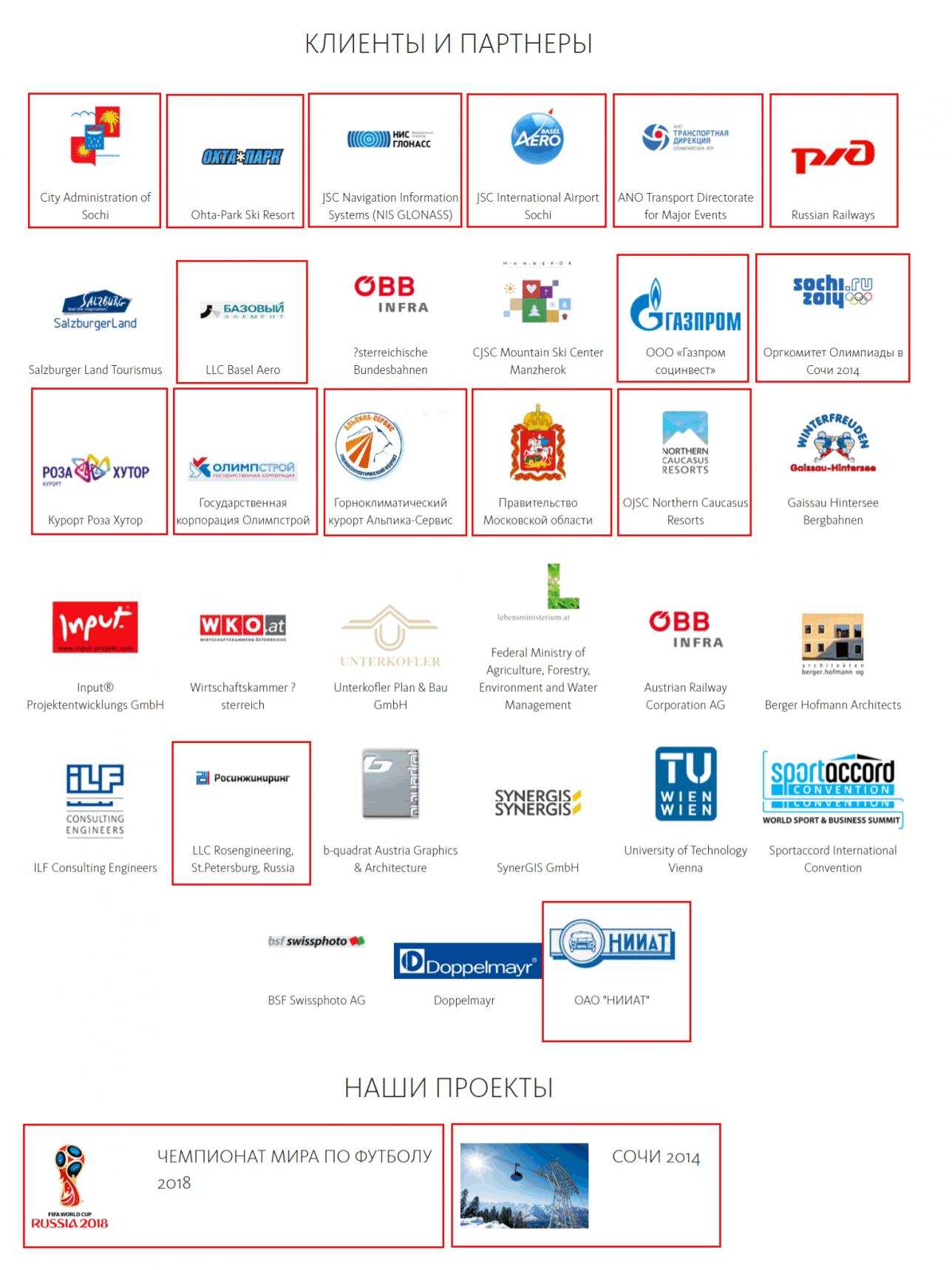 Клиенты и партнёры компании Masterconcept