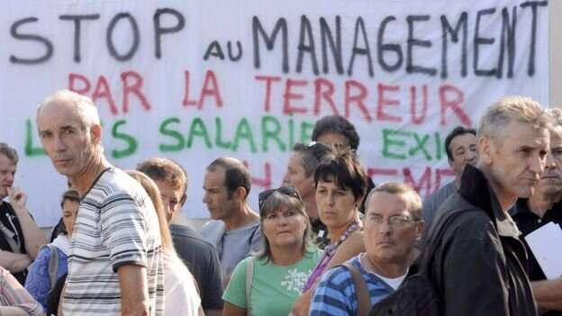 Протесты сотрудников France Telecom прошли во многих городах Франции. Акция протеста в Марселе, 2009 год