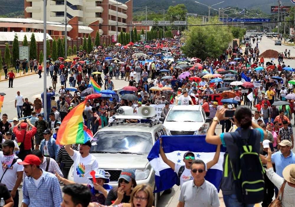 Акция протеста против президента Гондураса в Тегусигальпе 6 августа