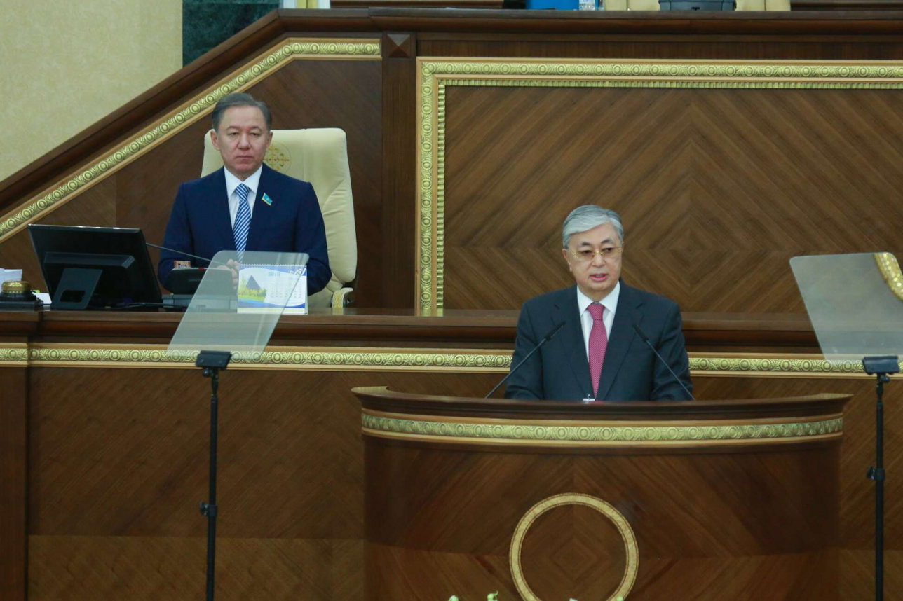 Касым-Жомарт Токаев выступает с Послание народу Казахстана