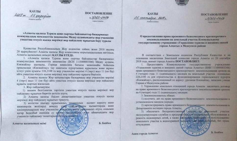 Одно из трёх постановлений акима Алматы от 25 сентября 2018 года.
