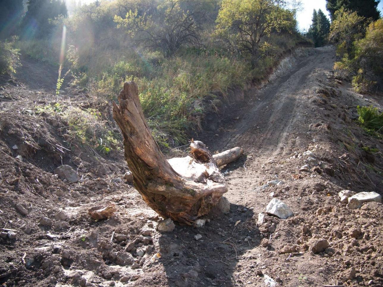 Правая ветка дороги на западном склоне