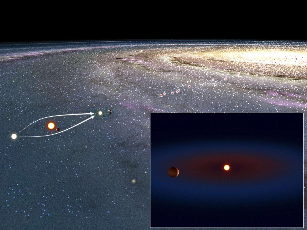Определение экзопланеты с помощью гравитационного микролинзирования / изображение Токийского Университета, сайт nao.ac.jp