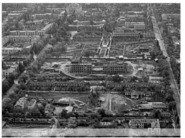 Вид на здание правительства КазССР в стадии строительства в 1950-ые годы